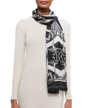 Printed Lightweight Silk Satin Scarf, Black/White