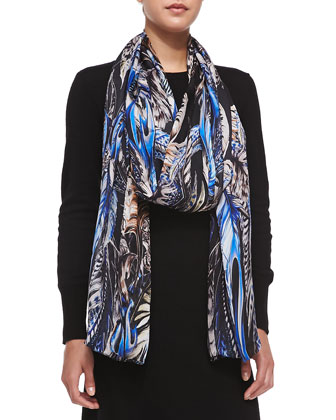 Printed Silk Scarf, Blue/Black