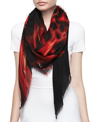 Cashmere Printed Gauze Scarf, Fire Red