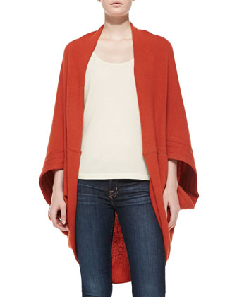 Cashmere Cardigan with Quilted Sleeves, Rust