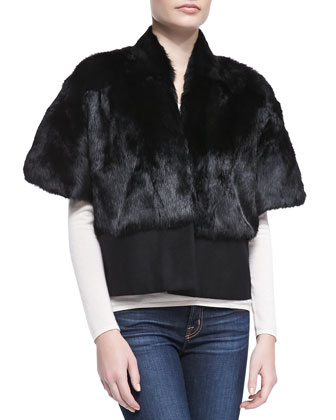 Short-Sleeve Rabbit Fur Topper Jacket, Black