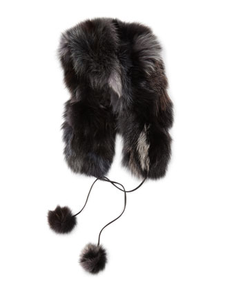 Fox Fur Hat with Pompom, Black