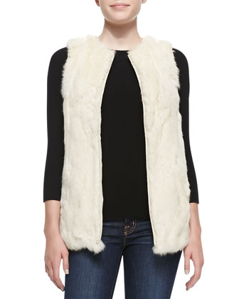 Rabbit Patchwork Vest, Ecru