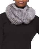 Knitted Mink Infinity Scarf, Gray