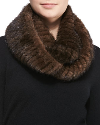 Knitted Mink Infinity Scarf, Brown
