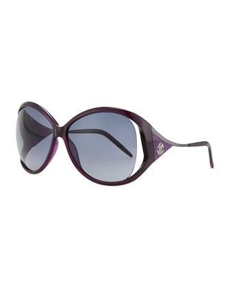 Round Tortoise Shell-Temple Sunglasses, Violet
