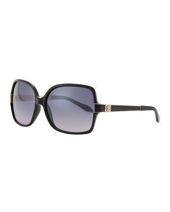 Square Jeweled-Temple Sunglasses, Black