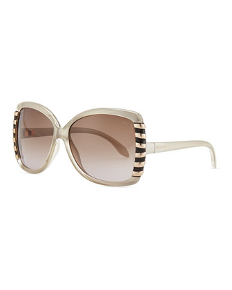 Oversized Acetate Line Design-Temple Sunglasses, Beige
