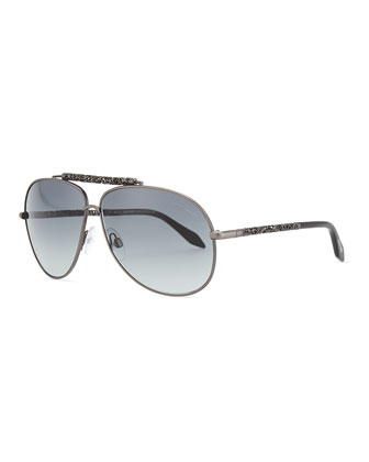 Aviator Scrolled-Metal Temple Sunglasses