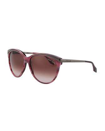 Slight Cat Eye Sunglasses, Plum/Striped Pink
