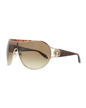 Shield Havana-Temple Sunglasses, Rose Gold/Brown