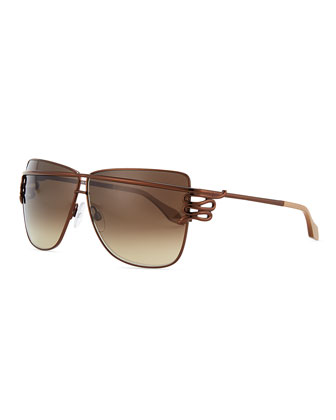 Square Serpent-Temple Sunglasses, Shiny Brown