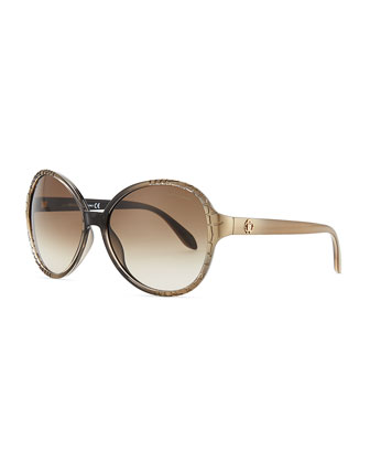 Round Embossed-Temple Sunglasses