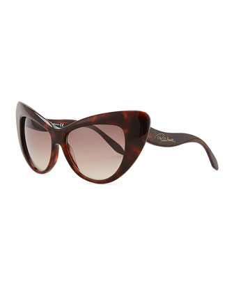 Oversized Cat-Eye Sunglasses, Havana