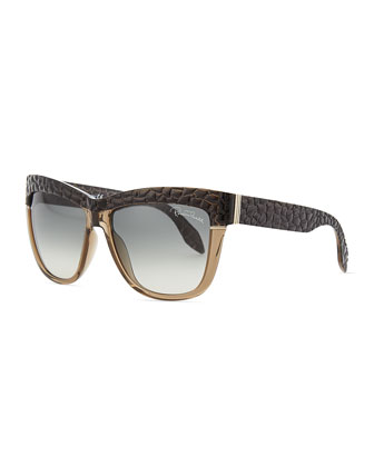 Cat Eye Embossed-Temple Sunglasses