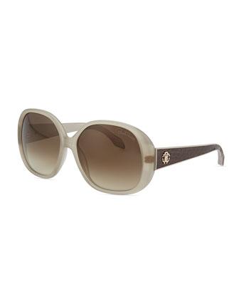 Round Snakeskin-Print-Temple Sunglasses