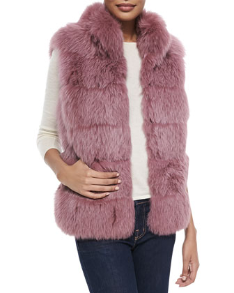 Collared Fox Fur Vest, Light Fuchsia