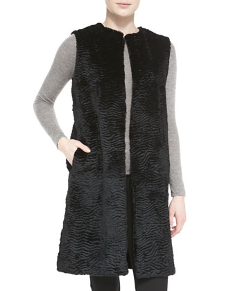 Long Sheared Rabbit Fur Vest, Black