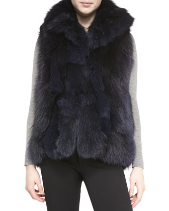 Collared Fox Fur Vest, Black