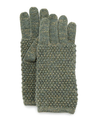 Metallic Knit Gloves, Military/Gold