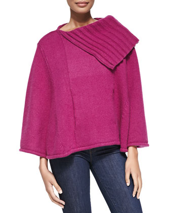 Cashmere Poncho with Pocket, Plumberry