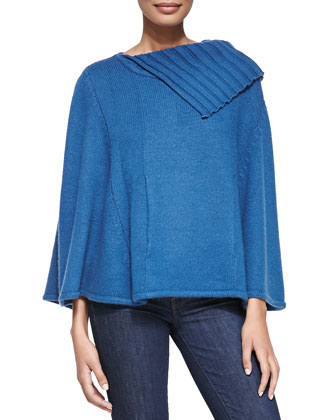 Cashmere Poncho with Pocket, Sapphire