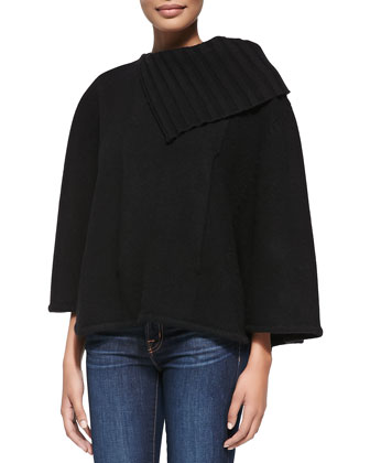 Cashmere Poncho with Pocket, Black