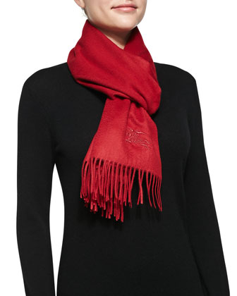 Cashmere Embroidered Scarf, Red