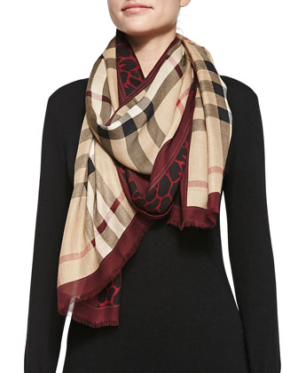 Animal-Print & Check Scarf, Red/Multi