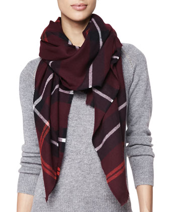 Wool Check Scarf, Deep Claret