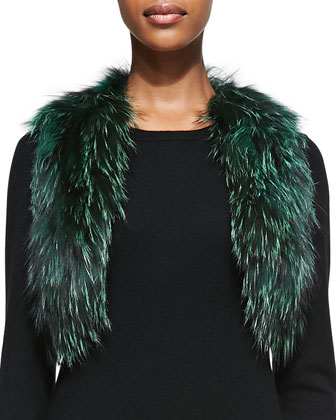 Cropped Fox Fur Vest, Green
