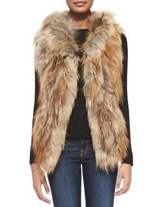 Hooded Fox Fur Vest, Natural Red