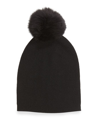 Cashmere Fur-Pom Hat, Black