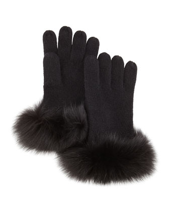 Knit Fox-Fur-Cuff Gloves, Black