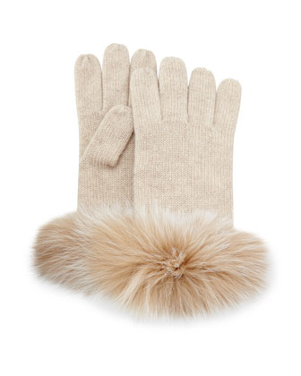 Cashmere Fur-Cuff Gloves, Oatmeal