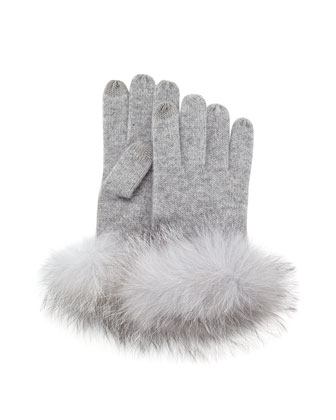 Cashmere Fur-Cuff Gloves, Gray