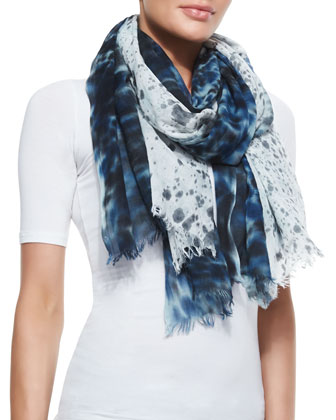 Watercolor Painted Rain-Print Wrap Scarf, Black
