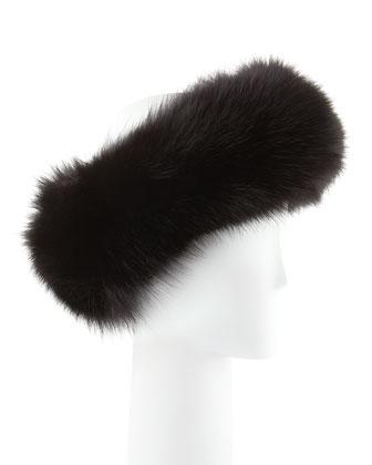 Fox Fur Headband, Black