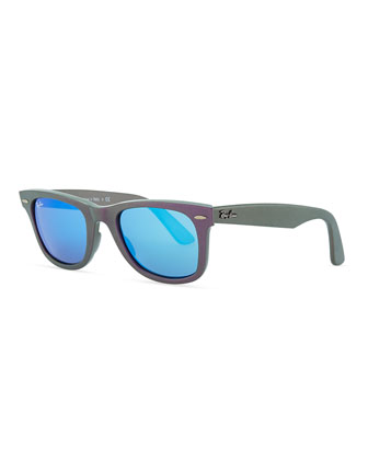 Wayfarer Sunglasses with Mirrored Lenses, Iridescent Violet