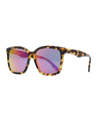 Felix Sunglasses with Mirrored Lens, Tortoise