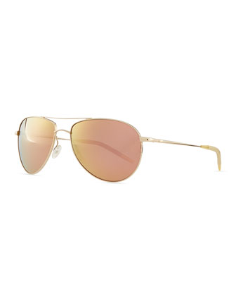 Mirrored Aviator Sunglasses, Gold/Green