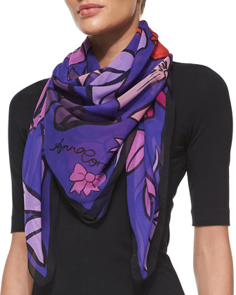 Bows Printed Chiffon Scarf, Purple/Orange