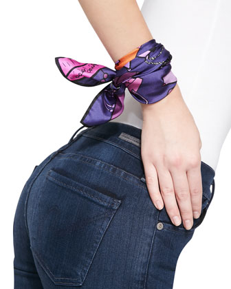 Handbag-Print Small Square Scarf, Iris