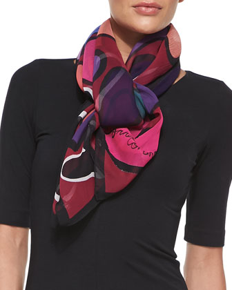 Hearts Printed Chiffon Scarf, Rouge