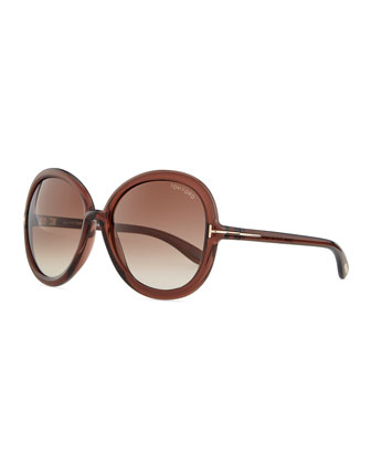 Candice Injected Round Sunglasses, Tortoise/Brown
