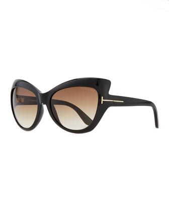 Bardot Sharp Cat-Eye Sunglasses, Black