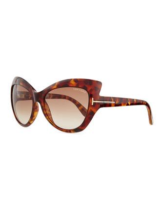 Injected Cat-Eye Sunglasses, Havana