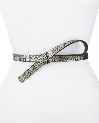 Metallic Loop Leather Skinny Belt, Black