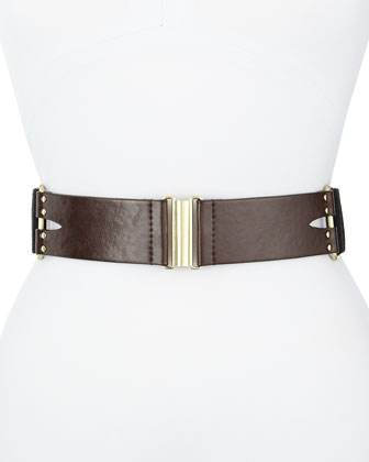Studded Leather Stretch Belt, Brown