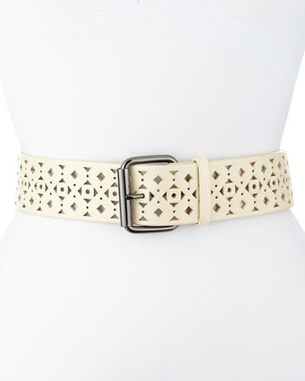 Roller Geometric-Cut Leather Belt, Bone
